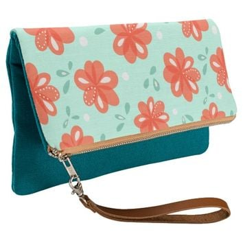 Cheerful red flowers pattern clutch