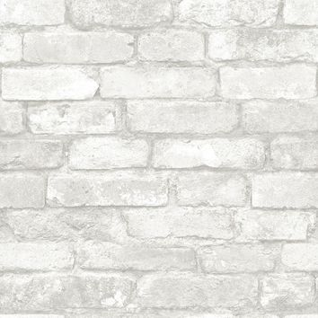 Brewster Wallpaper NUW1653 Grey and White Brick Peel and Stick