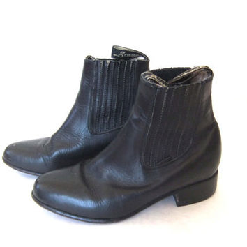 vintage Black Leather CHELSEA BOOTS // ANKLE by BuddyBuddyVintage