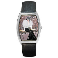 Art Deco ( 1920's Style) Women on Bench on Womens Barrel Watch w/ Leather Band