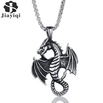 Jiayiqi Punk Stainless Steel Necklaces Hippocampus Dragon Wing Zodiac Pendants Necklace for Men Jewelry Unique Gifts Silver/Gold