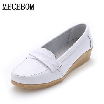 2017 Shoes Woman Leather Women Shoes Flats 3 Colors Buckle Loafers Slip On Women's Fla
