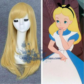 Alice in Wonderland Alice Yellow Golden Cosplay Wig Straight Long Synthetic Hair Costume Party Halloween Party Wigs + Wig Cap