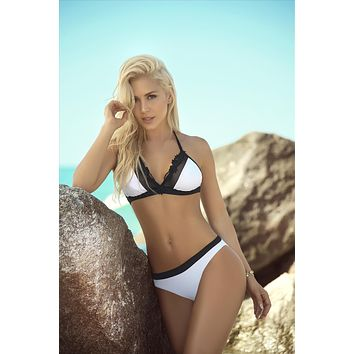 White w/ Black Mesh & Ruffle Trim Triangle Top & Cheeky Bottom Bikini Swimsuit (Black also available)