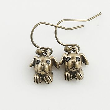 Animal Puppy Yellow Bronze Earrings