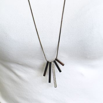 Different Bar Rhinestone Long Necklace