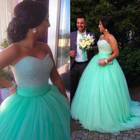 New Arrival Ball Gown Prom Dress Sweetheart Neck Mint Tulle Skirt Ball Dress APD1652