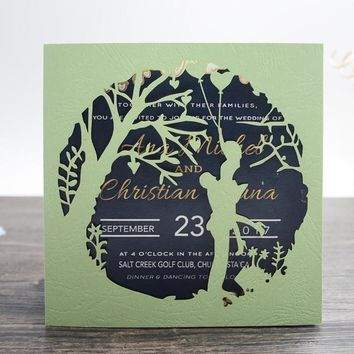 Green Couple Elegant Wedding Invitations Cards