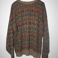 90s oversized tribal pattern sweater