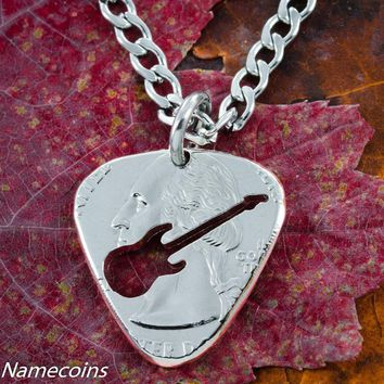 Guitar Pick Necklace, Guitarist quarter gift by Namecoins