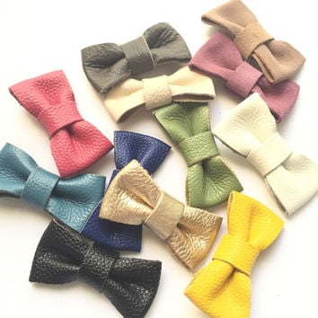 Genuine leather bow headband or bow tie