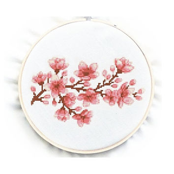 Cherry Blossom Cross Stitch Chart Pattern, PDF instant download, No.72, Instructions