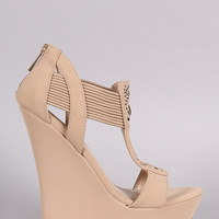 Perforated Nude or Black Nubuck Straps Platform Wedge