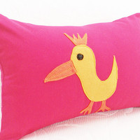 Unique Kids Pillows Appliqued Yellow by PillowThrowDecor on Etsy