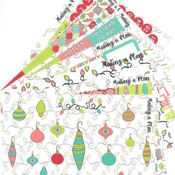 Christmas Doodles Weekly  Vertical Kit Planner Stickers for use with ERIN CONDREN LIFEPLANNER