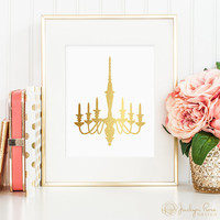 Chandelier faux gold art printable - decor, home or office wall art (Printable wall art decor - Instant digital download - JPG)