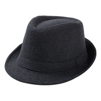2015 Autumn Winter Fedora Hat Cloth Felt Cap Fashion Vintage Hats for Men Panama Jazz Hat  Black Gray Coffee