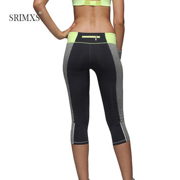 Women Yoga Pants Sport Fitness patchwork zipper push-up sports pants tight elastic fitness sweat skinny gym pants women Clothes