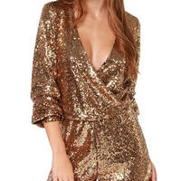 Gold Sequined Wrap V-Neckline Long Sleeve Romper