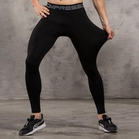 Mens Compression Tights Pants Jogger Fitness Exercise Bodybuilding long pant trousers Spandex Quick Dry