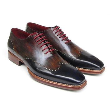 Paul Parkman (FREE Shipping) Men's Wingtip Oxford Goodyear Welted Navy Red Black