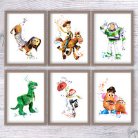 Toy Story print Set of 6 Toy Story watercolor poster Disney wall decor Kids room wall art Child room wall art Nursery room decoration V299