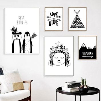 Cartoon Indian Panda Tent Peak Wall Art Canvas Painting Nordic Posters And Prints Black White Wall Pictures Kids Room Wall Decor
