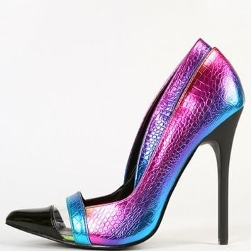 Privileged Raver Iridescent Snake Pumps | MakeMeChic.com