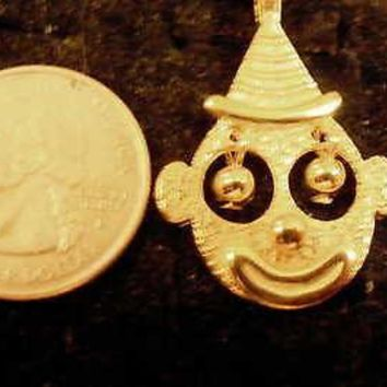 bling gold plated circus clown pendant charm 24 inch rope chain hip hop necklace