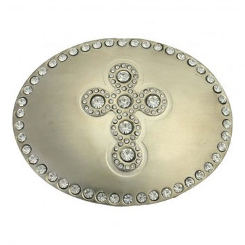 Montana Silversmiths Attitude Buckles with Cross Nickel and Cubic Zirconias A187S