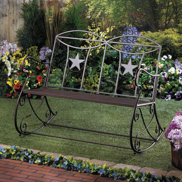 Garden Bench-Rustic Iron Country Rocking Bench Star 4 Left!  SAVE $170.00!