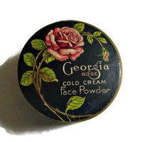 30's Art Deco Georgia Rose Powder Box Tin Vintage Flapper Makeup Collectible 40's Cold Cream Vanity Face Powder Box Art Deco Beauty & Vanity