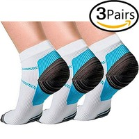 3 Pairs Compression Socks for Women and Men Sport Plantar Fasciitis Arch Support Low Cut Running Gym Compression Foot Socks / Foot Sleeves Best for Sports