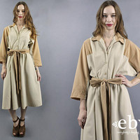 Microsuede Dress Midi Dress 1980s Dress 80s Dress Modest Dress Cream Dress Beige Dress Belted Dress Batwing Dress Fall Dress L XL