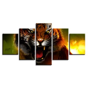 5 Pieces Fierce Animal Tiger Poster Pictures Canvas Panel Wall Art Picture