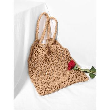 Khaki Straw Bag With Double Handle