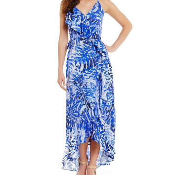 Gianni Bini Gia Palm Maxi Wrap Dress | Dillards
