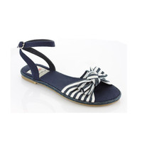 ELLIE Navy Canvas Nautical Stripe Sandals - Unique Vintage - Prom dresses, retro dresses, retro swimsuits.