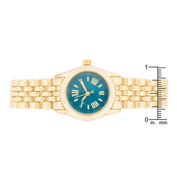 Gold Link Watch With Teal Dial