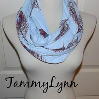 NEW!! Light Blue Cotton Knit with Peacock Feathers Infinity Scarf Women's Accessories