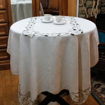 Ecru Linen Tablecloth, Large Madeira Tablecloth, Cut Work & Embroidered Brown Flowers, Shabby Chic, Cottage Chic, Vintage