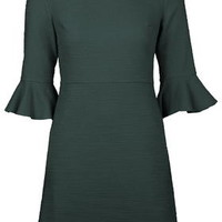 Textured Bell Sleeve Dress - Forest