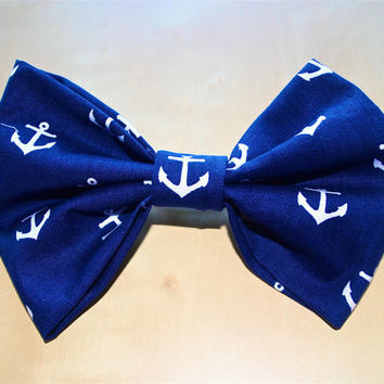 Navy Blue & White Nautical Anchor Print Fabric Hair Bow
