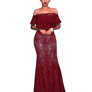 Red Lace Long Evening Dress with Off Shoulders