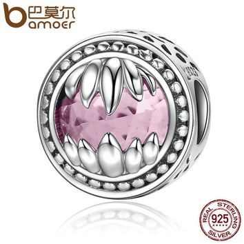 Real 925 Sterling Silver Animal Beast Guardian Monster Holding Pink Crystal Beads fit Women Bracelets Jewelry Gift SCC163