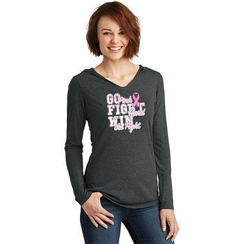 Ladies Breast Cancer T-shirt Go Fight Win Tri Blend Hoodie