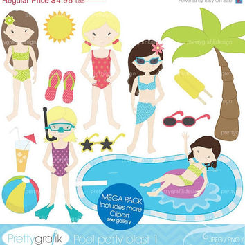 40% OFF pool party clipart commercial use, vector graphics, digital clip art, digital images, swimming, beach, scrapbooking - PGCLPK450