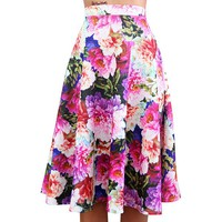 Sweet Colorful Floral Print High Waist Midi Skirt For Women