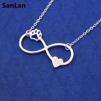 1pcs Beautifully Animal Infinity Pendant women Necklaces love Cats and Dogs Paws and heart  Heartbeat necklace SanLan