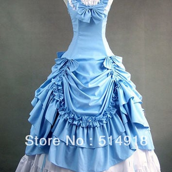 Tomsuit Sleeveless Lolita Dress Layered Sky Blue and White Bow Gothic Victorian Dress Prom costume Alternative Measures - Brides & Bridesmaids - Wedding, Bridal, Prom, Formal Gown